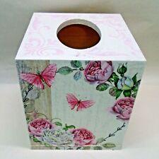 Handmade Decoupage Tissue Box Cover, Roses, Butterflies