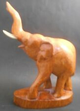 Hand Carved Mahogany Standing Elephant Figurine on Base Wood Wooden