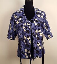 MAC & JAC ANTHROPOLOGIE Linen Blend Periwinkle Blue 1/2 Sleeve Jacket L