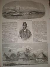 HMS Teazer fires on Medina Sierra Leone 1853 old print ref T