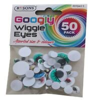 50 Googly Googley Eyes Mixed Colours Wiggly Wobbly Art Craft Fun Kids Toys