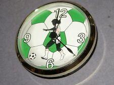 """SOCCER  3"""" Quartz Clock FIT UP MOVEMENTS Gold Bezel   4U3"""