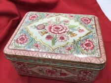 Vtg. Floral Design, Highly Embossed Hinged Lid Metal Container, Made in Holland