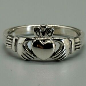 Claddagh Ring 925 sterling silver Irish Celtic Gaelic hand holding heart J-X