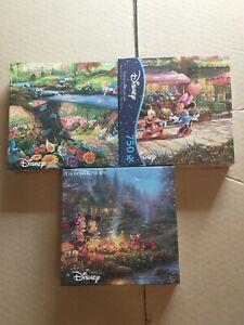 Disney Thomas Kinkade Mickey and Minnie Sweetheart Campfire Jigsaw Puzzle lot 3