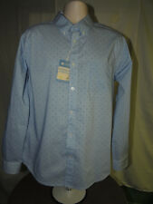 BNWT* Haggar L Fitted Polka Dots Striped Long Sleeve Button Up