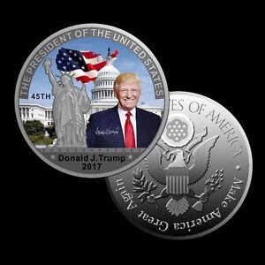 Donald Trump 45Präsident USA Wahl Silber Silberne 3D Münze Medaille Silberbarren