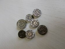 Set of 7 Cerruti 1881 Designer Metal Buttons 6-15mm & 1-20mm Button