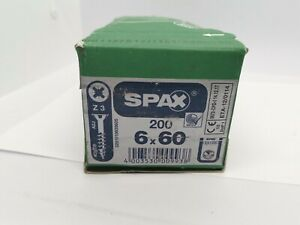 Spax Screws Universal Countersunk Philips Z3 Galvanised 6 x 60mm Pack Of 200 a2j