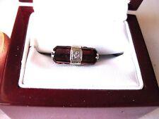 BELAIS ANTIQUE 14K WHITE GOLD FILIGREE RING: NATURAL GARNETS & DIAMOND,ART DECO