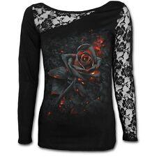 Spiral Direct BURNT ROSE Long Sleeved Lace One Shoulder Top, Goth, Rock, Biker