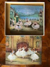 PAIR OF VINTAGE VICTORY WOODEN JIGSAW PUZZLES WITH BALLET PICTURES COMPLETE