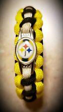 "NEW NFL Pittsburgh Steelers Cobra Knot Paracord Survival Bracelet 6.25"" L x .75"""