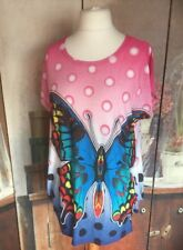 "Ladies Top Size XL/XXL Bright Butterfly Design Summer Bust 44"" Multi Colours"