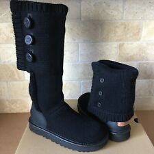 UGG CLASSIC CARDY 100% CASHMERE KNIT BLACK TALL / ANKLE BOOTS SIZE US 10 WOMENS