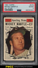 1961 Topps Mickey Mantle ALL-STAR #578 PSA 2 GD