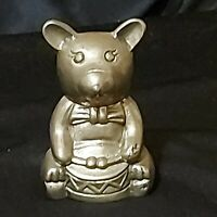 "Vintage Brass Teddy Bear Figurine w/Drum  3"" Tall Preowned"