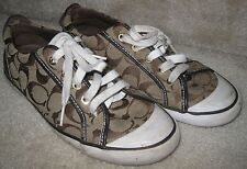 Coach Barrett Q106 Brown/Khaki Signature Jacquard Fashion Sneakers Size 7.5B