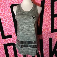 Victoria's Secret PINK Bling Tank Top Sequin Marled Gray Shirt Loose Fit S NWT