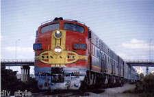 Santa Fe Warbonnets F7 diesel locomotives passenger train railroad postcard