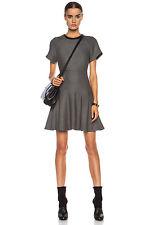 Womens Rag & Bone Black White Watson Leather Trim Flare Dress Size 6 NWTS