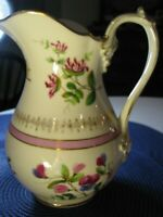 Antique Hand Painted Porcelain  9 1/2 in Pitcher