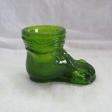 Boyd Art Glass Baby Shoe Olde Lyme Green