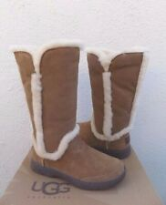 UGG CHESTNUT KATIA TALL WATERPROOF SUEDE/ SHEEPSKIN BOOTS, US 7/ EUR 38 ~NEW