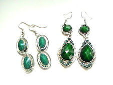 Green Earrings dangle evening ladies emerald faceted vintage christmas wartime