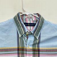 Ralph Lauren Blue Label Men's Shirt Indian Madras Plaid Multicolor Size Large