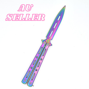 Titanium Butterfly Knife TRAINING/PRACTICE Folding Knife Trainer Tool Rainbow
