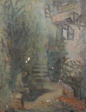 Vintage oil painting landscape house