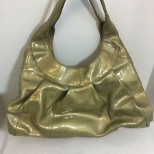 Sigrid Olsen Womens Patent Leather Hobo Shoulder Bag Purse Greenish Nice Unique