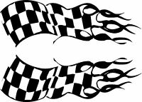 "Checkered Flames Vinyl Decals Motorcycle (12"" x 4"")"