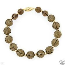 STUNNING SOLID 14K YELLOW GOLD GENUINE SMOKY TOPAZ BEADED BRACELET