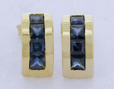 E054 Genuine 9ct Yellow Gold NATURAL Sapphire Half Hoop Huggies Stud Earrings