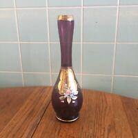 Vtg Murano Amethyst bud vase applied flowers gold gilt purple art glass handmade