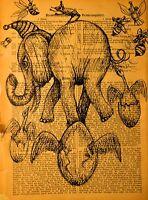 Originale Grafik Akt Zeichnung Old Paper A4 Urban Street Art Illustration Fun