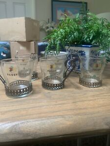 6 Vintage Paddy Irish Coffee Glass Mugs Anodised Holders Made in Ireland ExCon