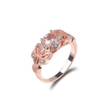 Women 1Pair Ring/Set Rose Gold Filled White Topaz Wedding Engagement Size