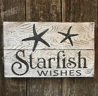 Beach Decor STARFISH WISHES Rustic Wood Sign Seaside Cottage HP Bar Pub Wall Art