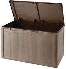 Baule cassapanca resina antiurto marrone 180 lt effetto legno da esterno interno