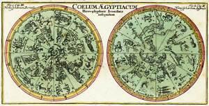 "1730 Egyptian Constellations Double-Hemisphere Celestial Chart Map 8""x16"" Print"