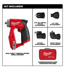 New Milwaukee M12 FUEL Installation Drill/Driver 4-in-1 attachments Bag 2505-20