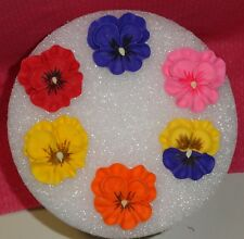 Pansy,Royal Icing,6 ct.Edible Cupcake Topper,Cake Decoration,Multi-Color,DecoPac