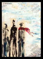 Fashion the RED Scarf 2014 ORIGINAL ACEO miniature Abstract OIL PAINTING Signed