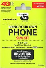 Straight Talk At&T Compatible 3-in1 Nano Micro Standard Sim Card Activation Kit