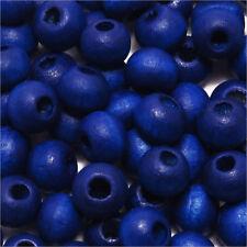 Lot de 100 perles rondes en Bois 6mm Bleu pour colliers Bracelets Chapelets