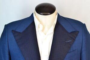 H. Hunstman & Sons Savile Row Blue Silk Embroidered Lapel Dinner Jacket Sz 40R