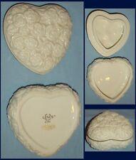 "Lenox Heart Shaped Trinket Box Embossed Roses Ivory w Gold Trim/3""x3""x1.5& #034;"